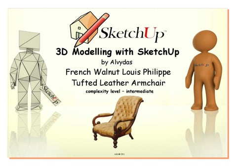 Google SketchUp 3D modelling of a French Leather Armchair by