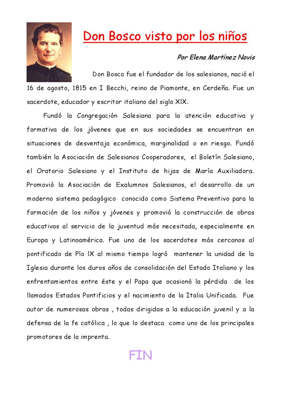 Don Bosco Visto Por Los Niños De 4º A By Segundociclo Primaria Issuu