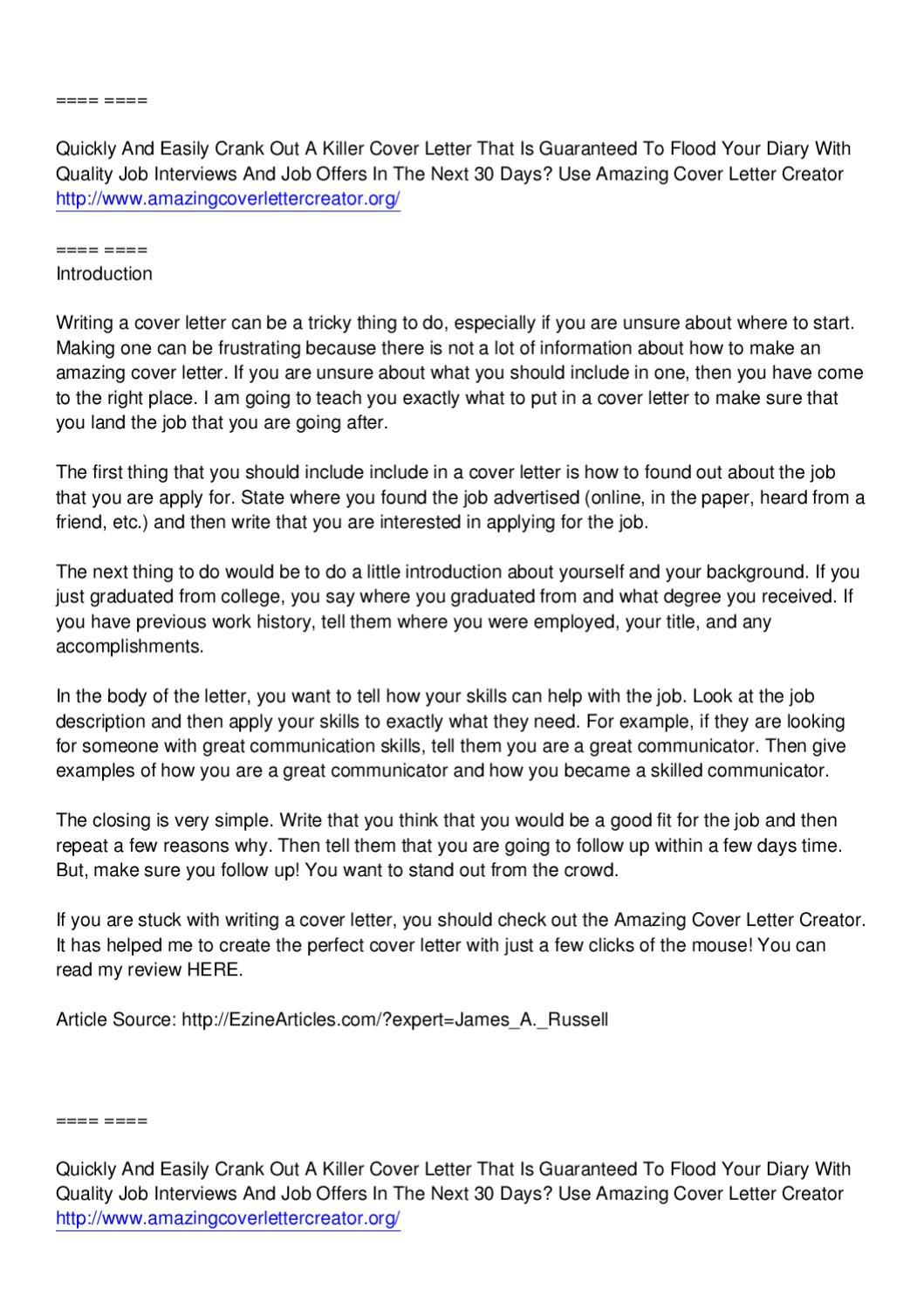 Amazing Cover Letter Creator Jimmy Sweeney By Arthur Smith