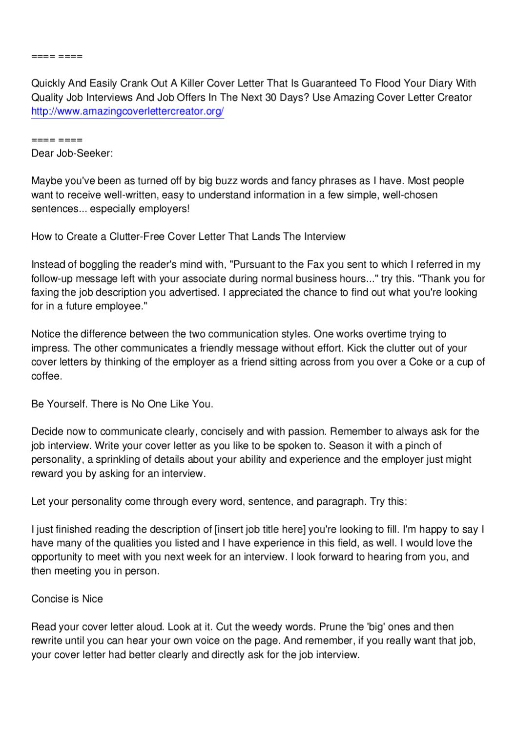 amazing cover letter creator jimmy sweeney by arthur smith ...