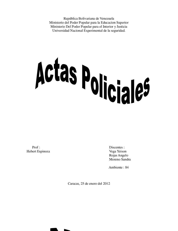 Actas policiales by hebert espinoza issuu for Logo del ministerio de interior y justicia