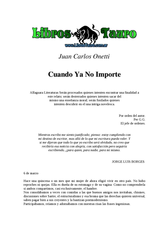 Onetti, Juan Carlos - Cuando Ya No Importe by Contacto Visual - issuu