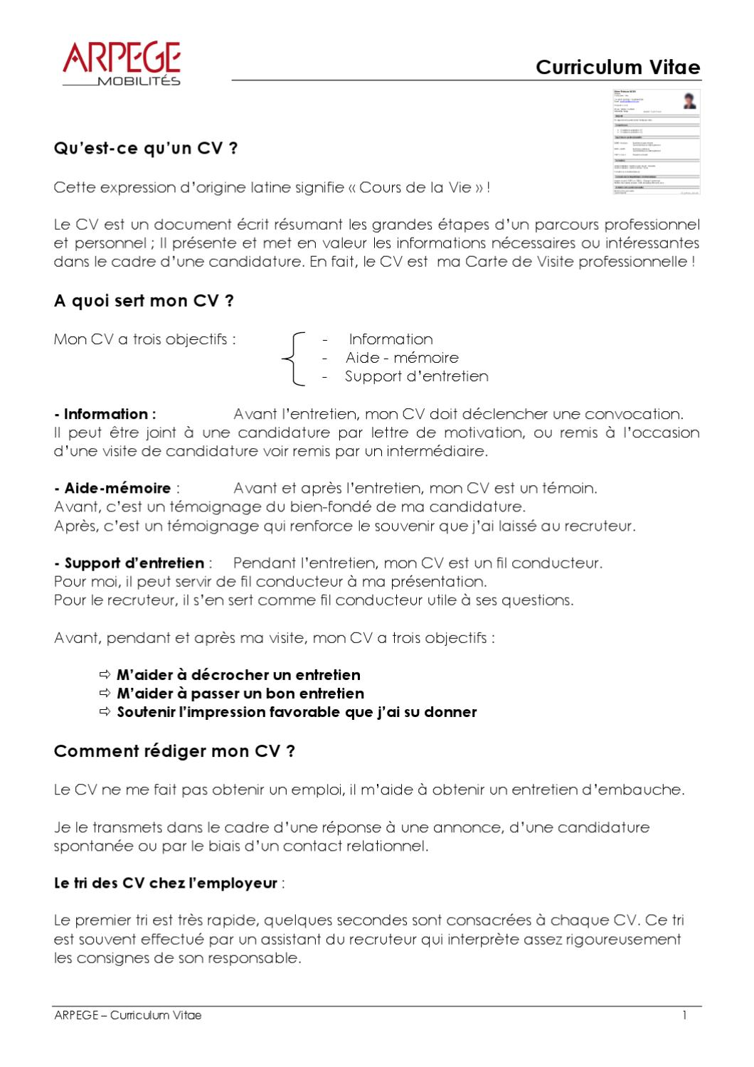 curriculum vitae by arpege formation