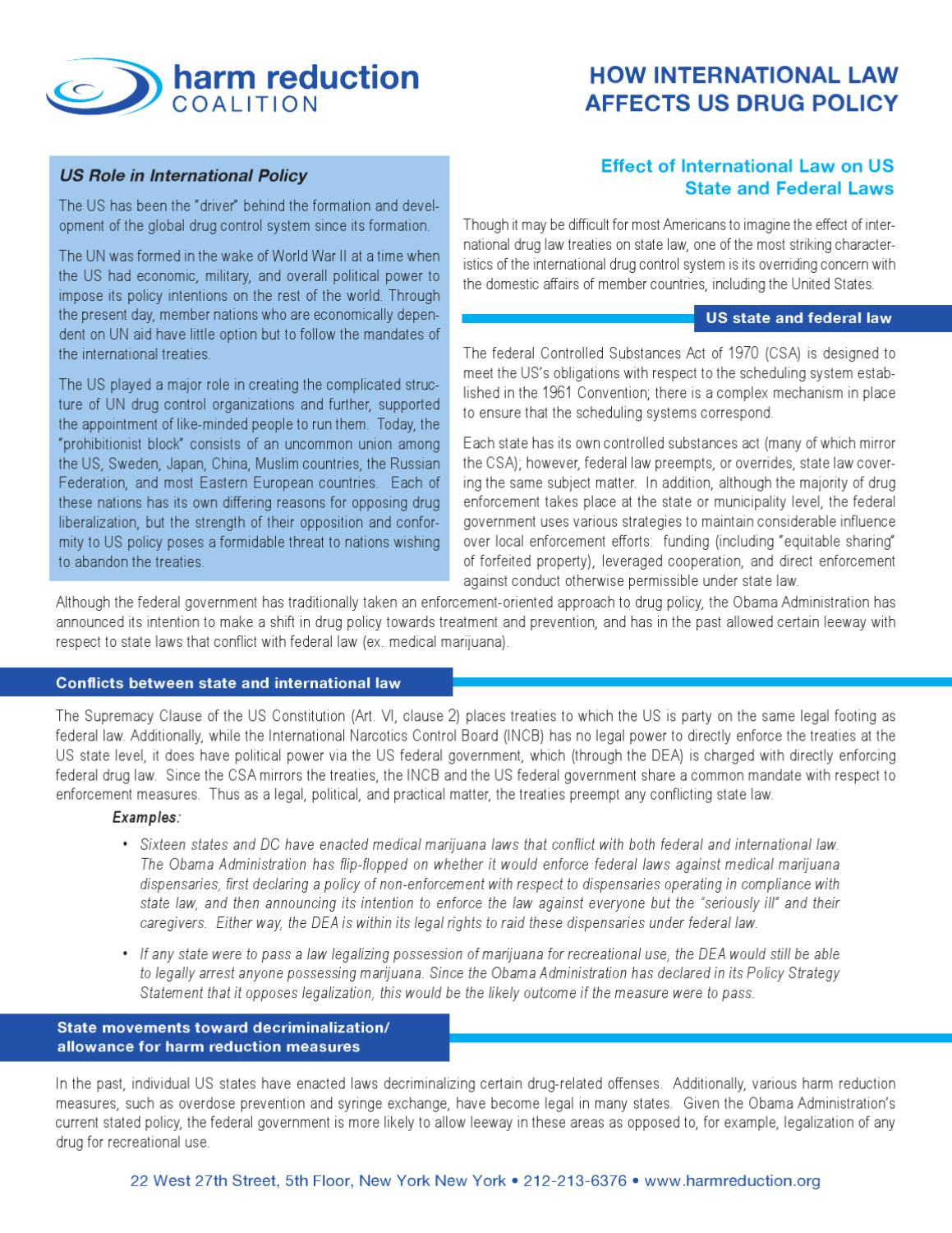 Effect of International Law on US State and Federal Laws by