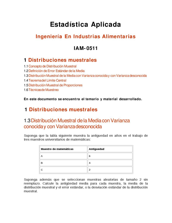 distribucion muestral de medias by LUIS GUETO - issuu