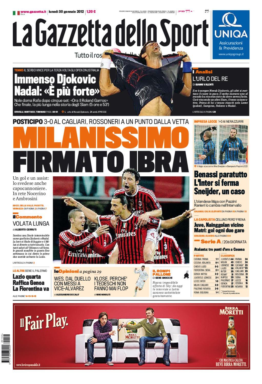 Gazzetta Dello Sport 30 1 12 By Seriea Streaming Issuu