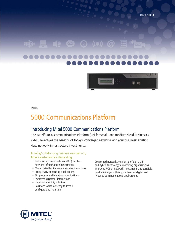 Mitel 5000hx Data Sheet by Communicoms   - issuu