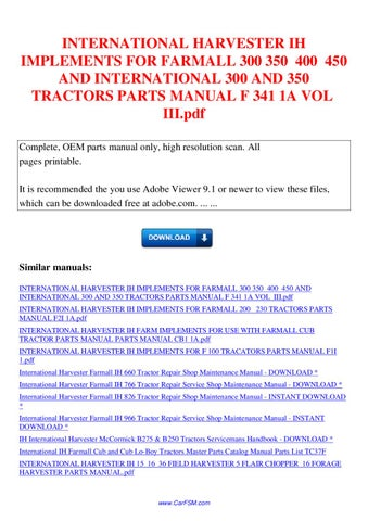 international harvester ih implements for farmall 300 350 400 450