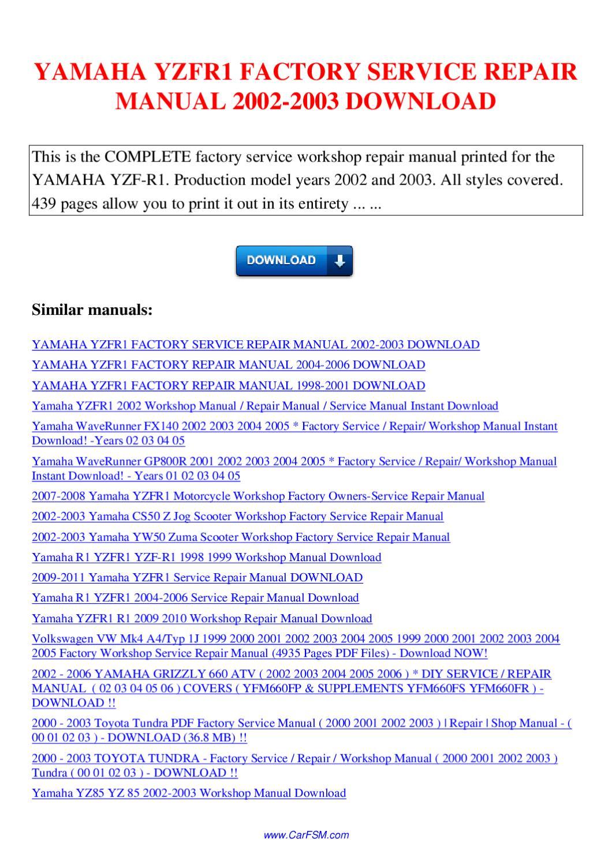 Yamaha Yzfr1 Factory Service Repair Manual 2002 2003 By Nana Hong