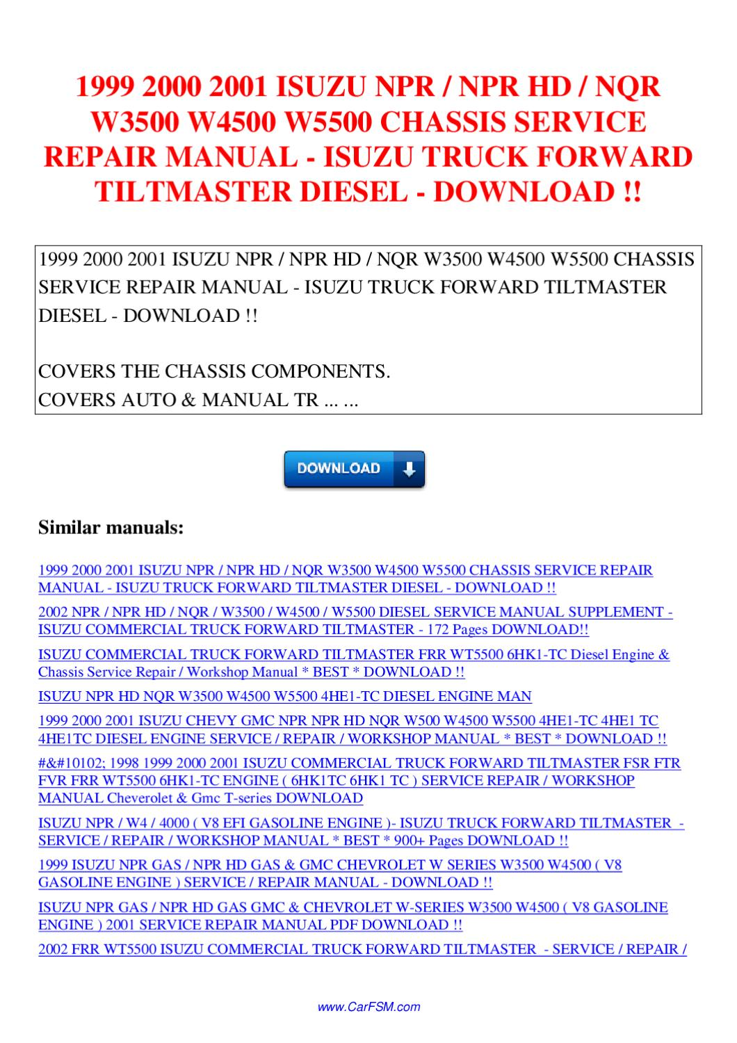 Chevrolet Wt5500 owners Manual at t on