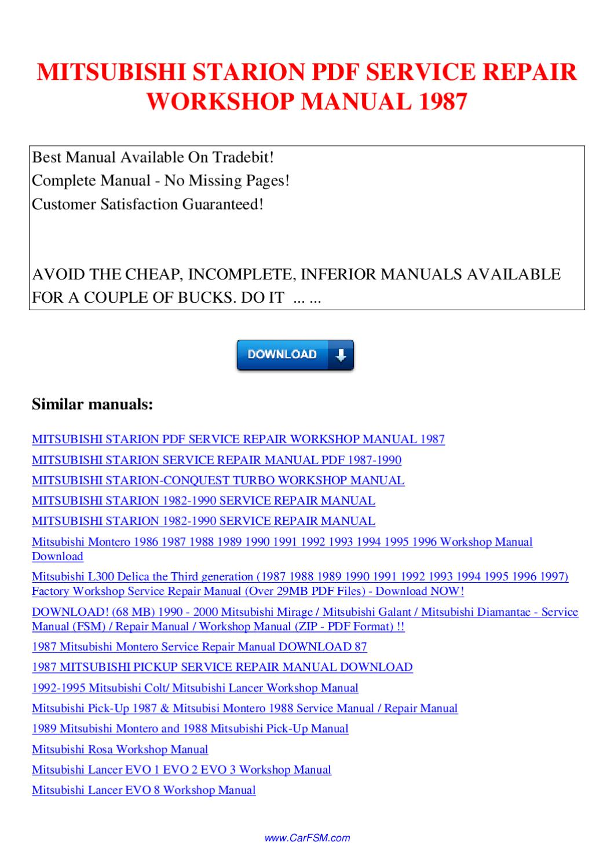 Mitsubishi Starion Service Repair Workshop Manual 1987 By border=