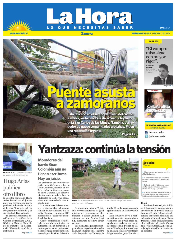 Diario La Hora Zamora 01 De Febrero 2012 By Diario La Hora Ecuador  # Muebles Niza Cordoba Castro Barros