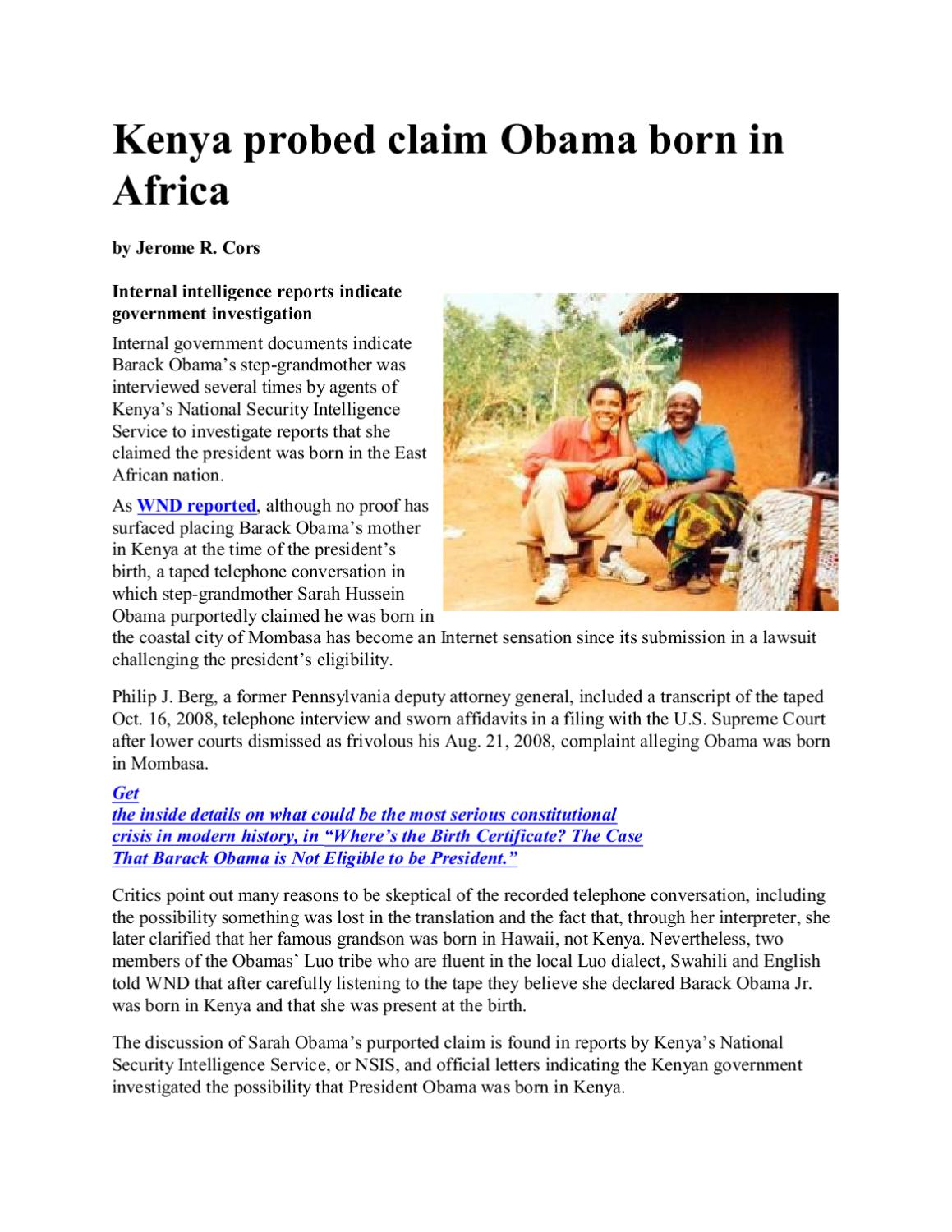 Kenya probed claim obama born inafrica by freedom of speech issuu aiddatafo Images