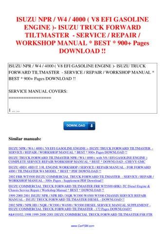 1993 isuzu npr gmc w4 chevy 4000 4bd2 t diesel engine factory service repair manual
