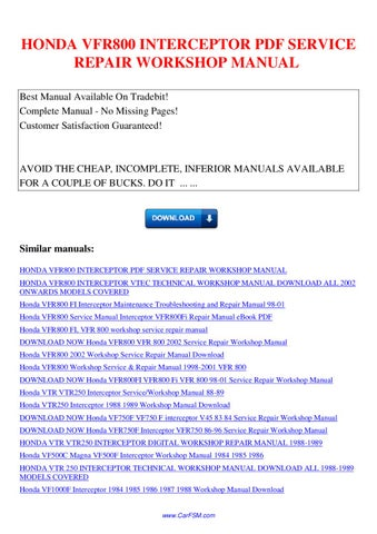 Honda vfr800 interceptor service repair workshop manual by nana hong honda vfr800 interceptor pdf service repair workshop manual best manual available on tradebit complete manual no missing pages fandeluxe Image collections