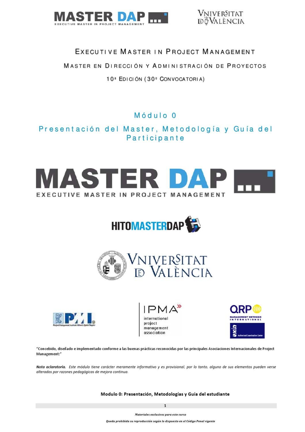 Executive Master in Project Management Universidad de Valencia by ...