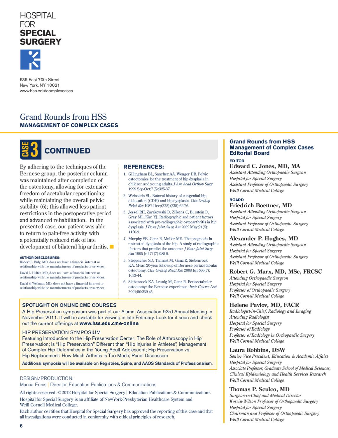 Grand Rounds from HSS - Management of Complex Cases : Winter