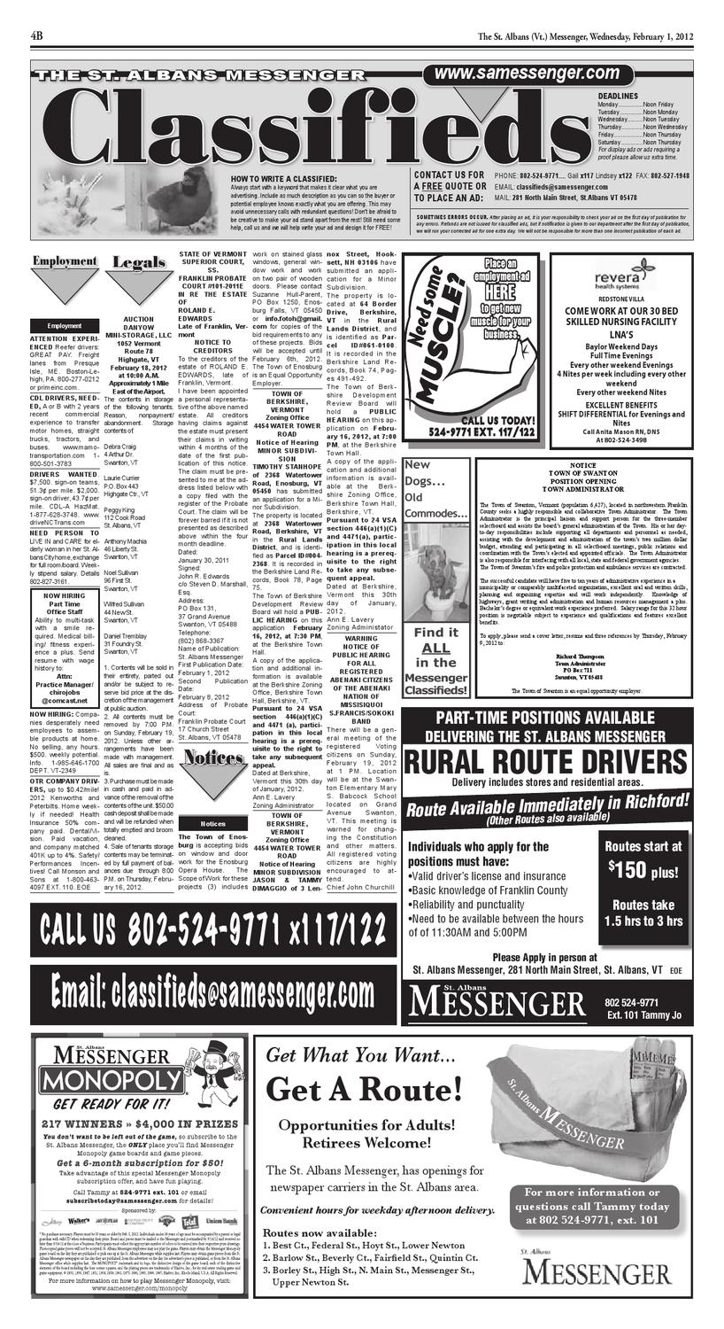 02/01/12 Classifieds by St  Albans Messenger - issuu