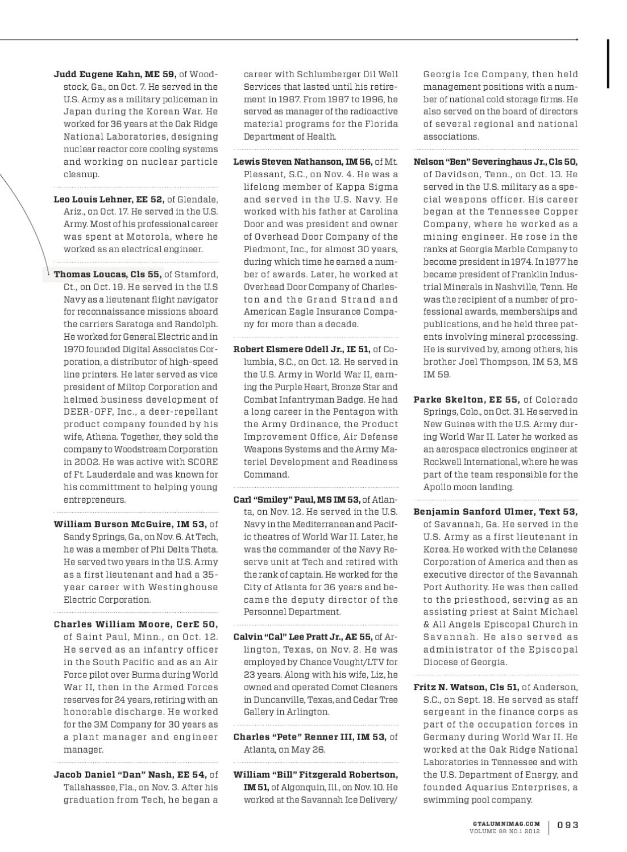 Georgia Tech Alumni Magazine Vol  88, No  01 2012 by Georgia