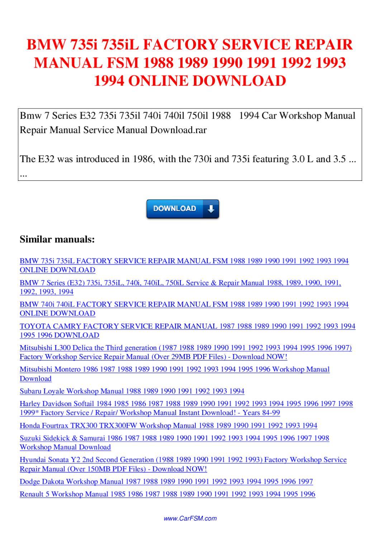 Bmw 735i 735il Factory Service Repair Manual Fsm 1988 1989