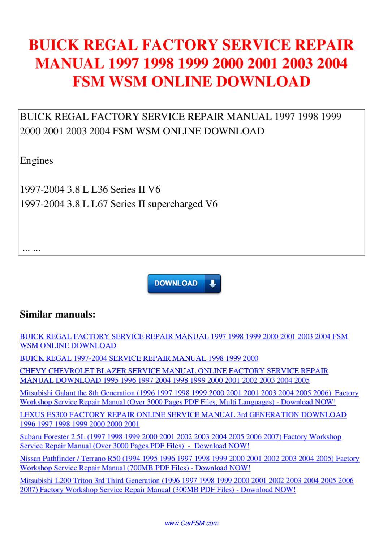 Buick Regal Factory Service Repair Manual 1997 1998 1999 border=
