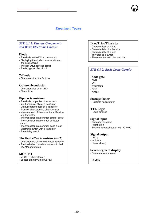 T6 Fundamentals Of Electronics By Ld Didactic Gmbh Issuu Triac Characteristics