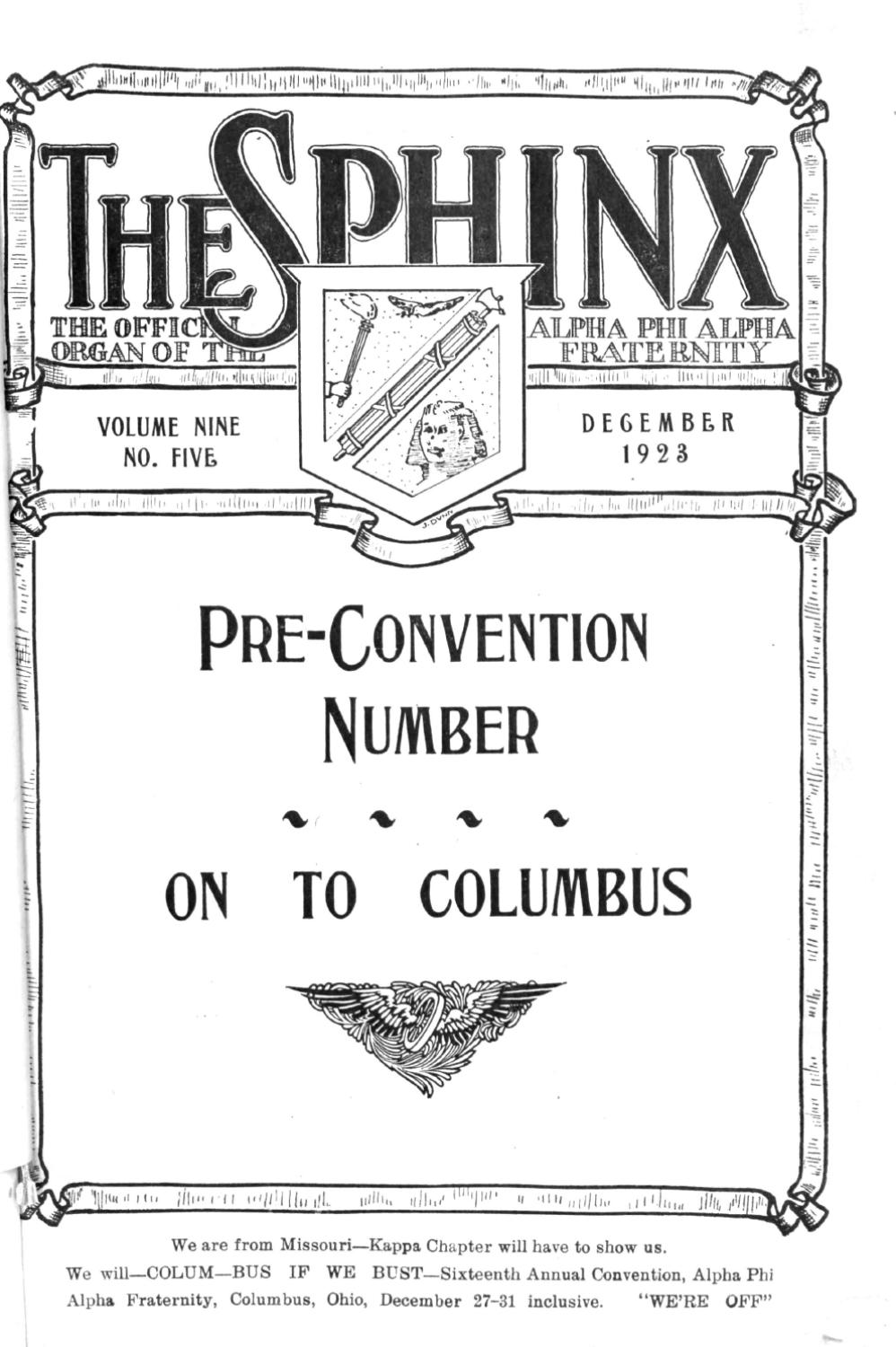 The Sphinx Winter December 1923 Volume 9 Number 5 192300905 By