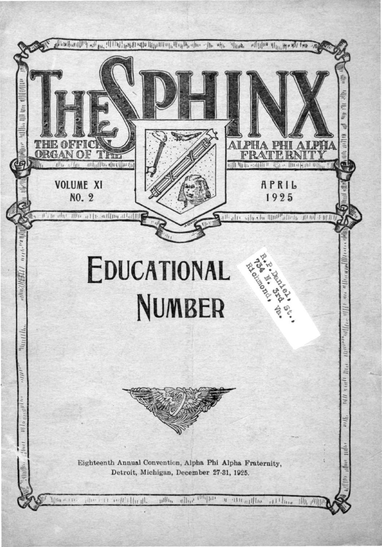 The SPHINX | Spring April 1925 | Volume 11 | Number 2