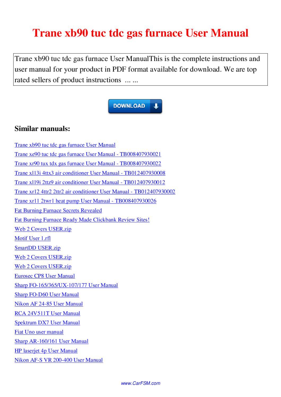 Trane Xr11 Manual