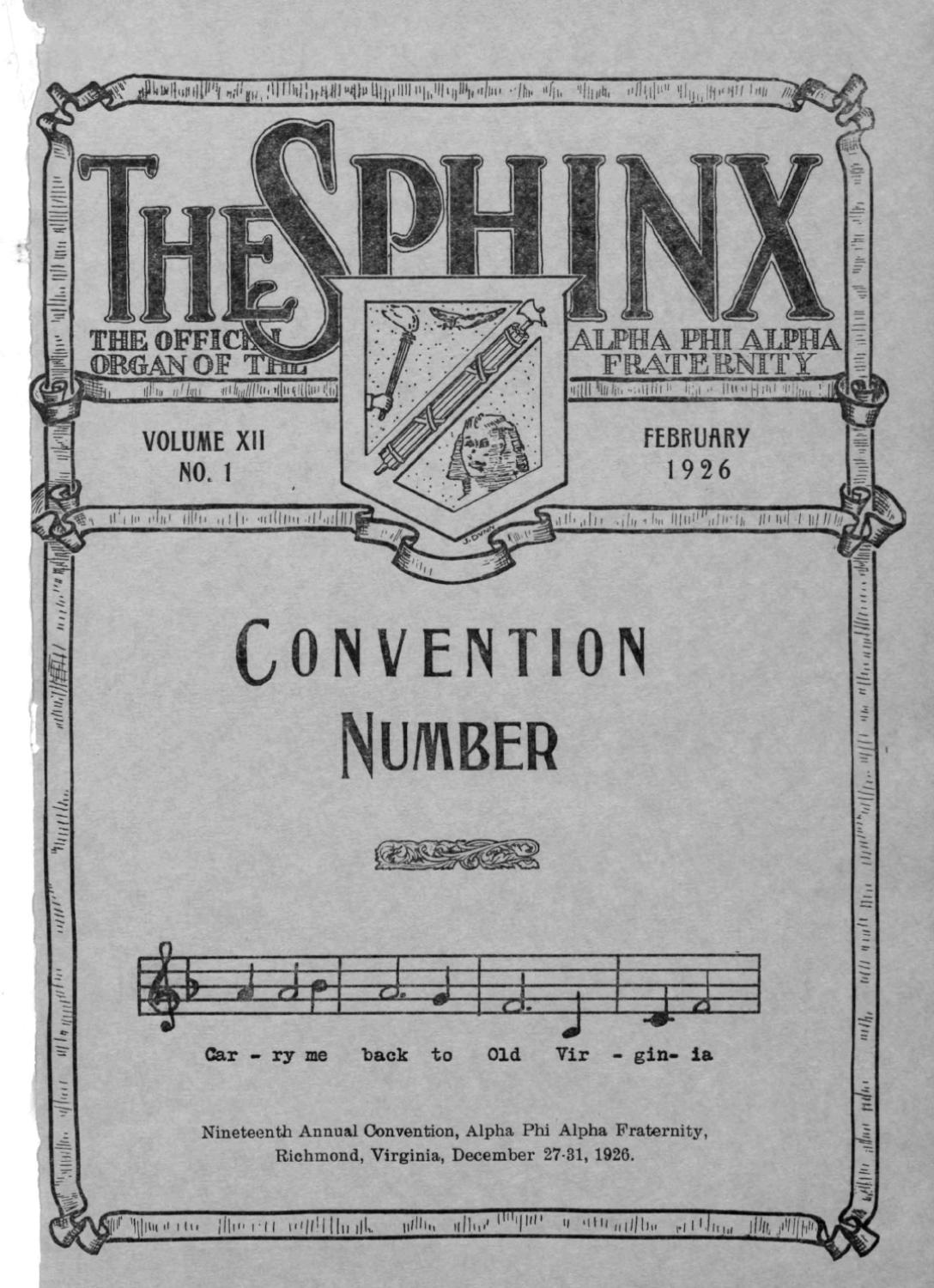 The Sphinx Spring February 1926 Volume 12 Number 1 192601201