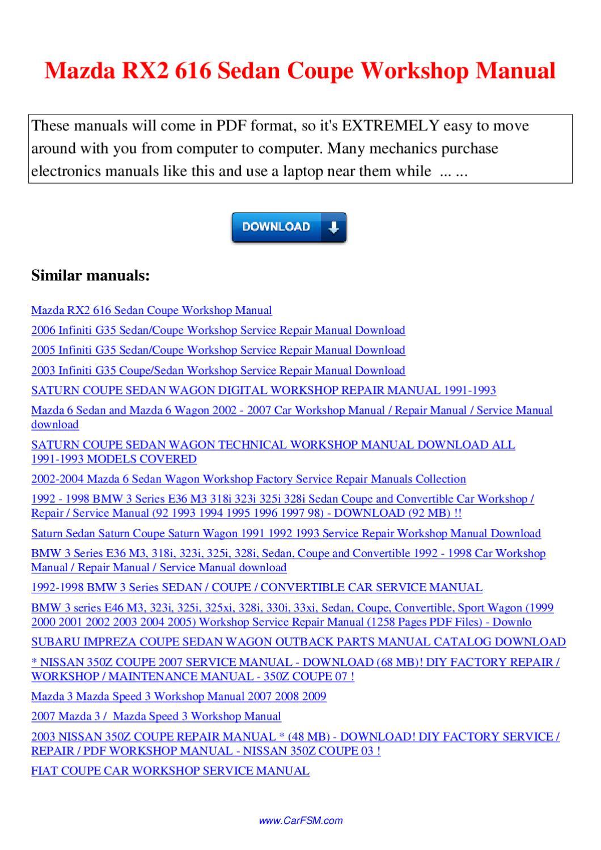 Mazda Rx2 616 Sedan Coupe Workshop Manual By Nana Hong