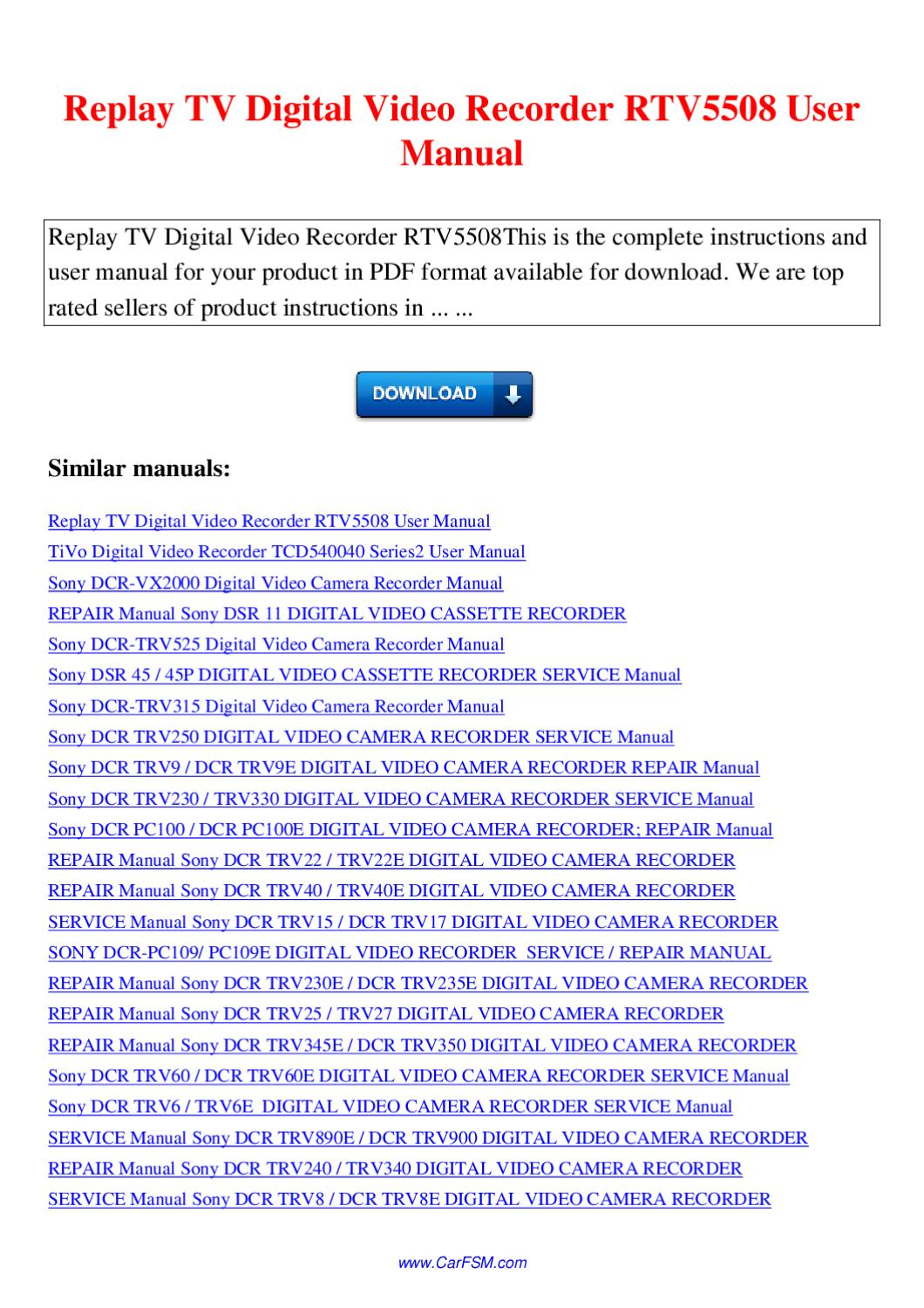 Service manual sony dcr trv890e / dcr trv900 digital video camera r.