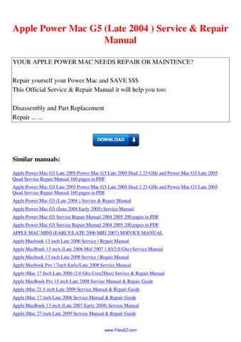 apple imac g5 17inch isight service repair manual