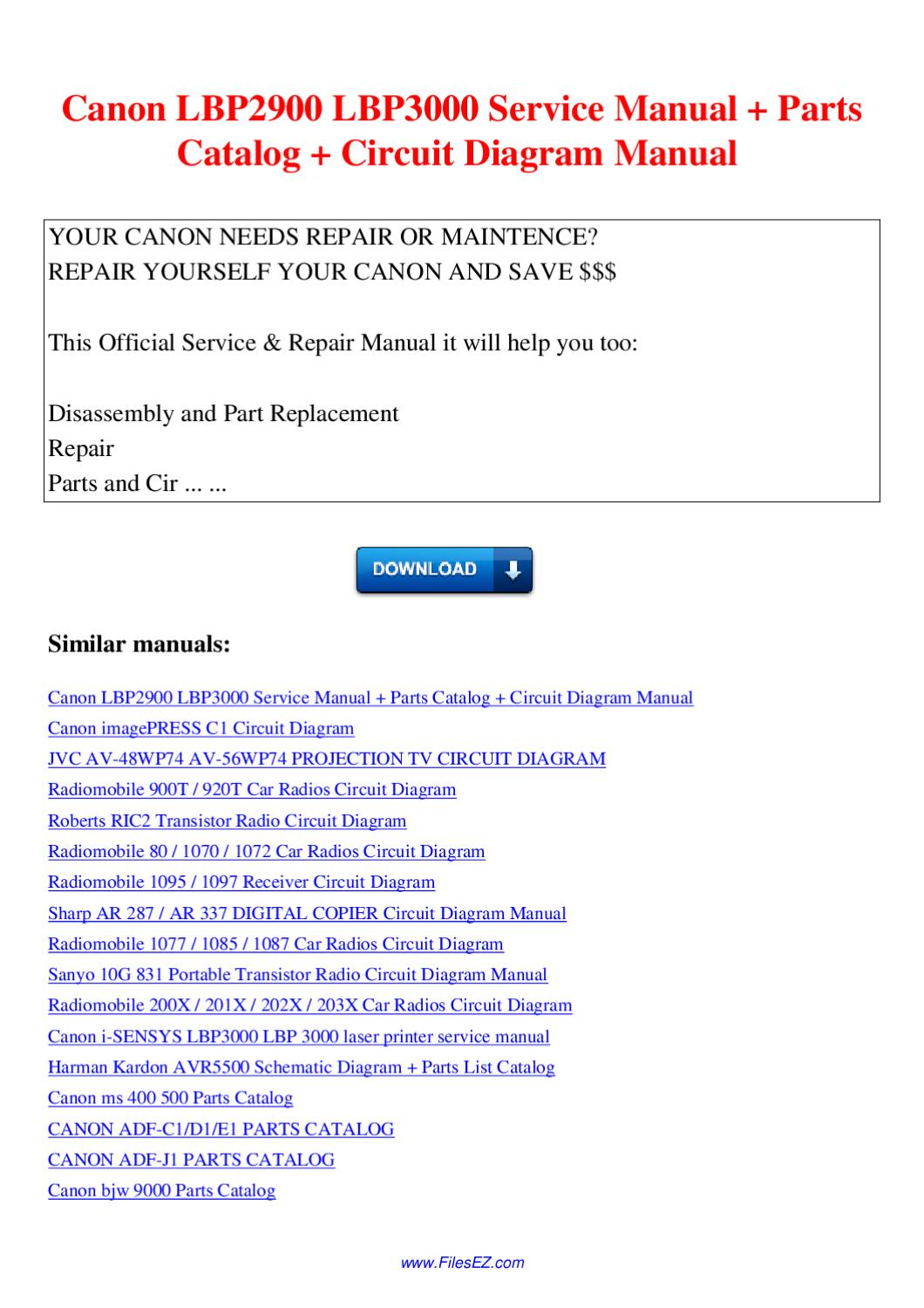 Canon Lbp2900 Lbp3000 Service Manual Parts Catalog Circuit