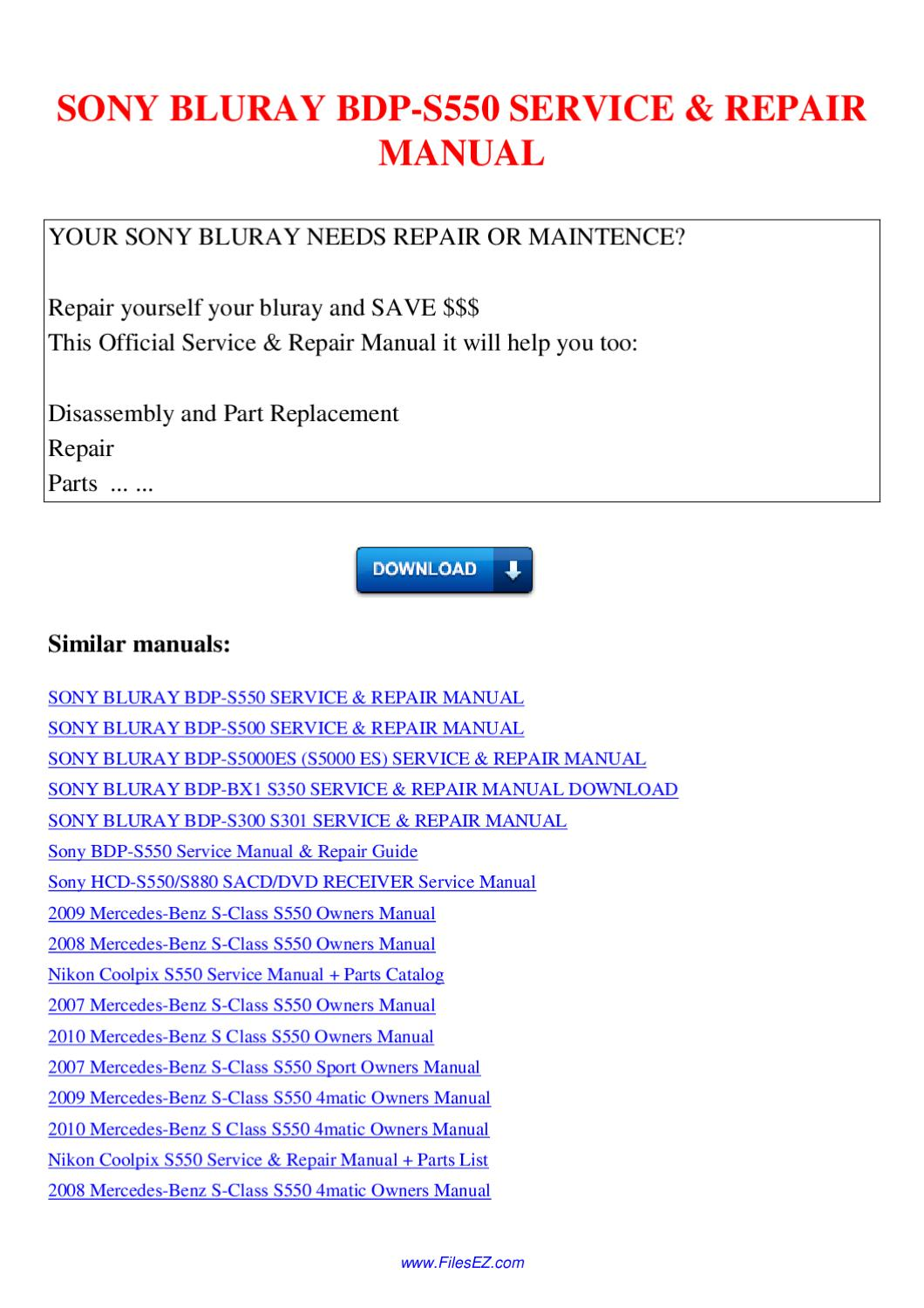 Sony Bluray Bdp S550 Service Repair Manual By Nana Hong Issuu