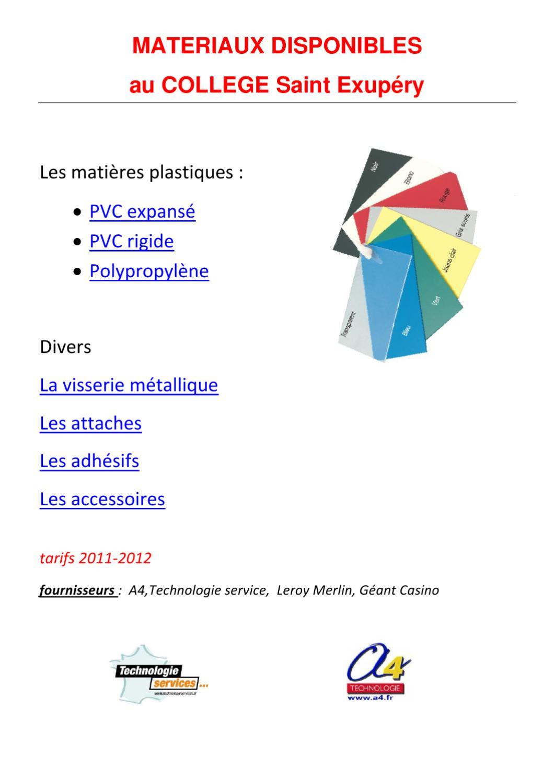 Les Matériaux Disponibles By Technologie 3 Eme St Ex Issuu