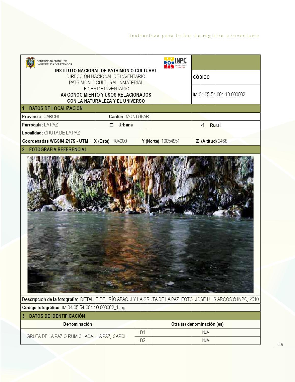 Instructivo Para Fichas De Inventario De Inmaterial By Riesgos  # Muebles Rumichaca