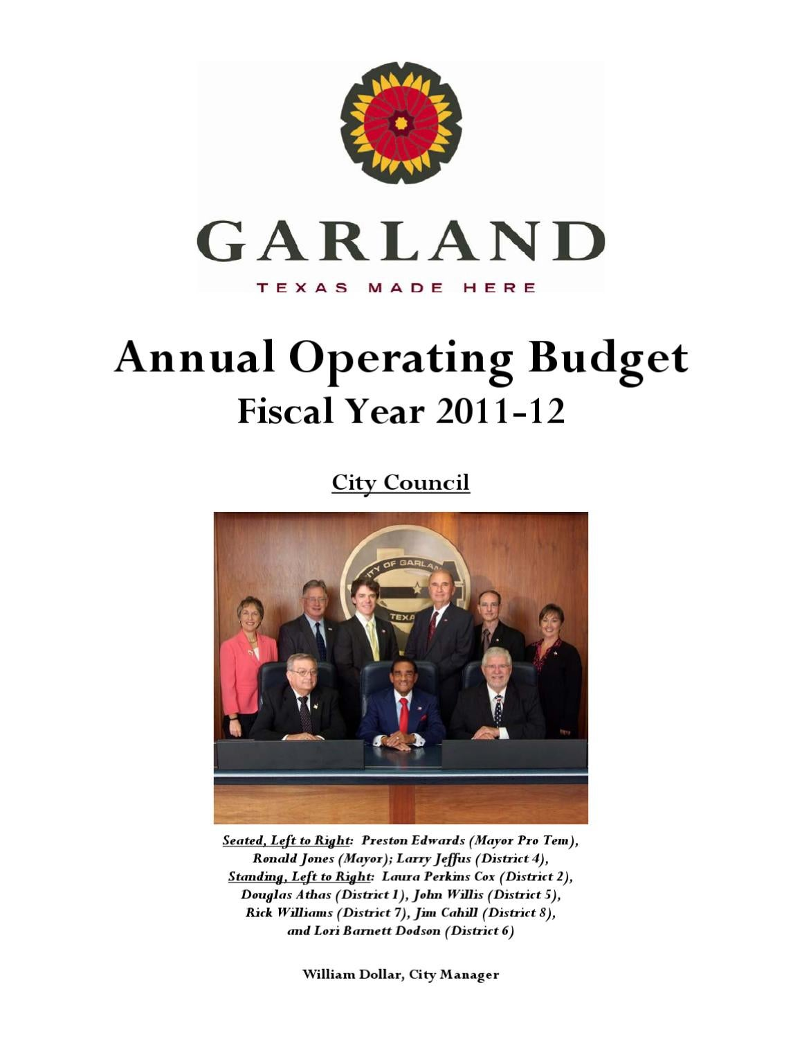 2011-12 Annual Operating Budget by City of Garland - issuu
