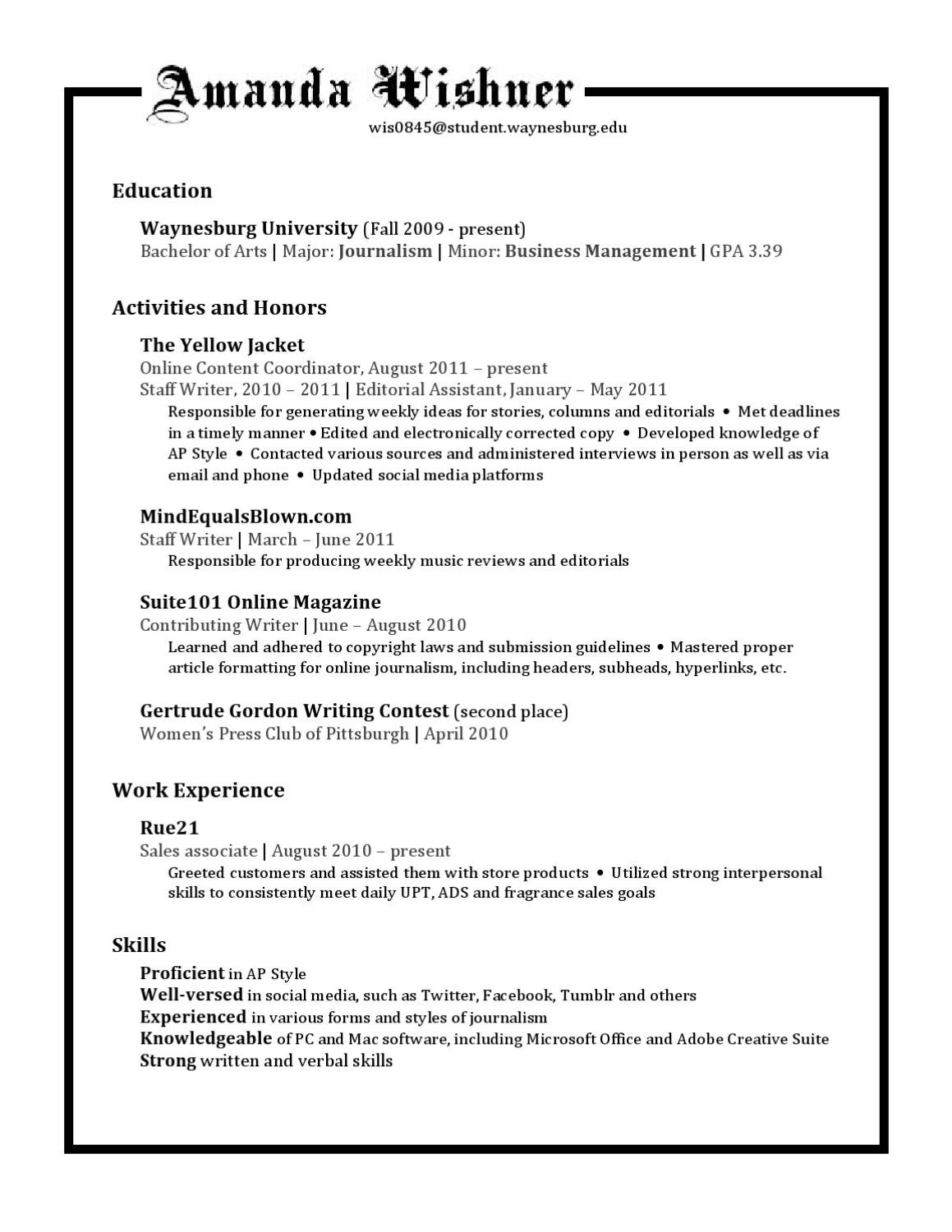 My Resume by Amanda W - issuu