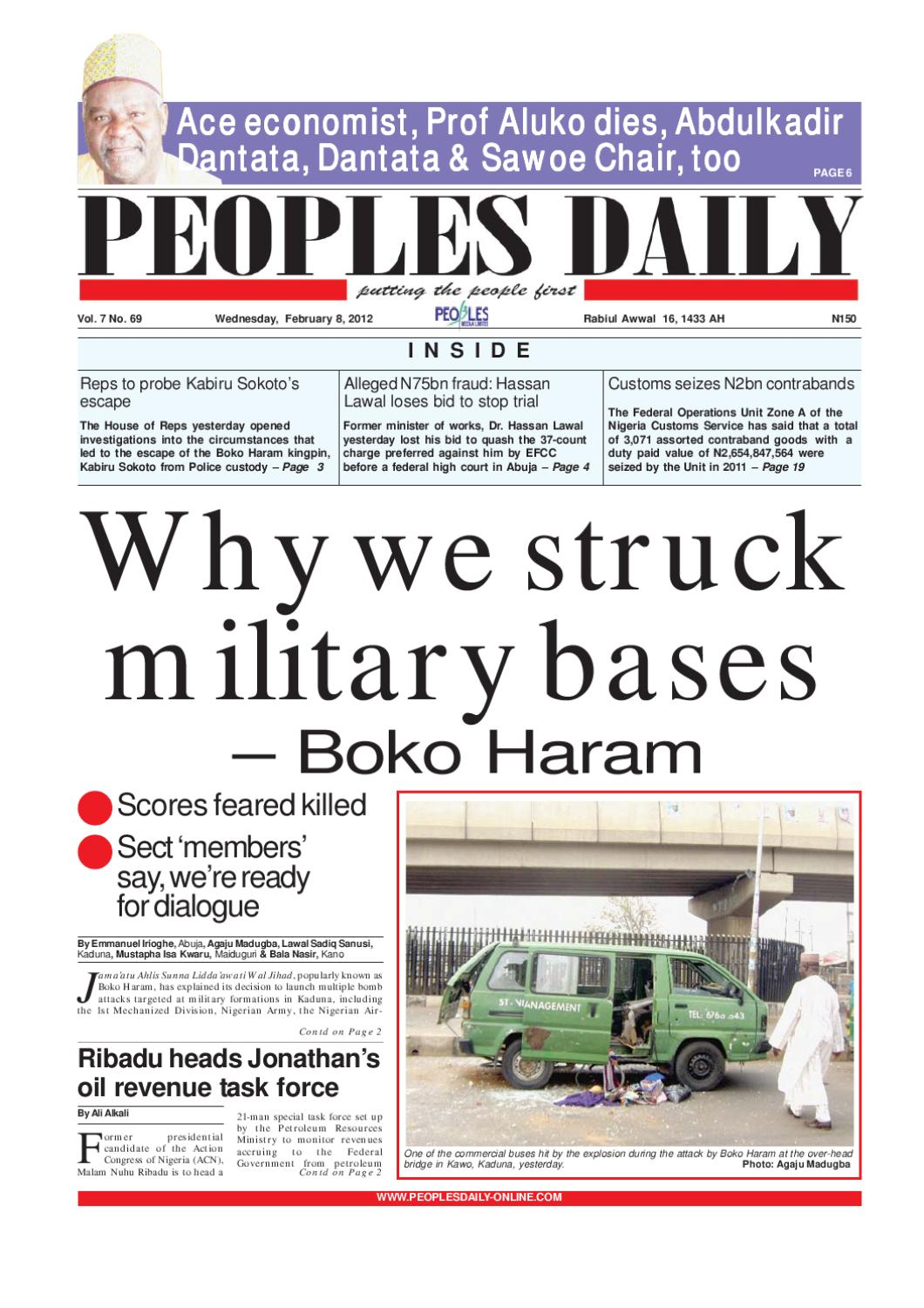 peoples daily newspaper, february 8, 2012 by peoples media limited