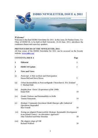Isdrs Newsletter Issue 4 By Pontus Cerin Issuu