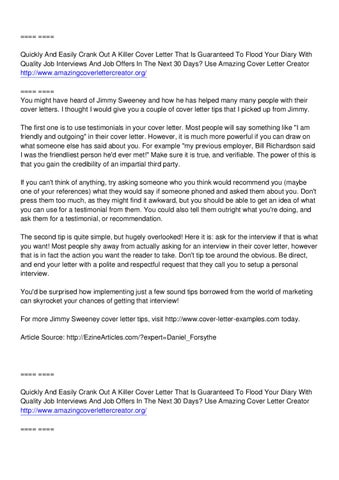 Amazing Cover Letter Creator Jimmy Sweeney By Arthur Smith  Issuu
