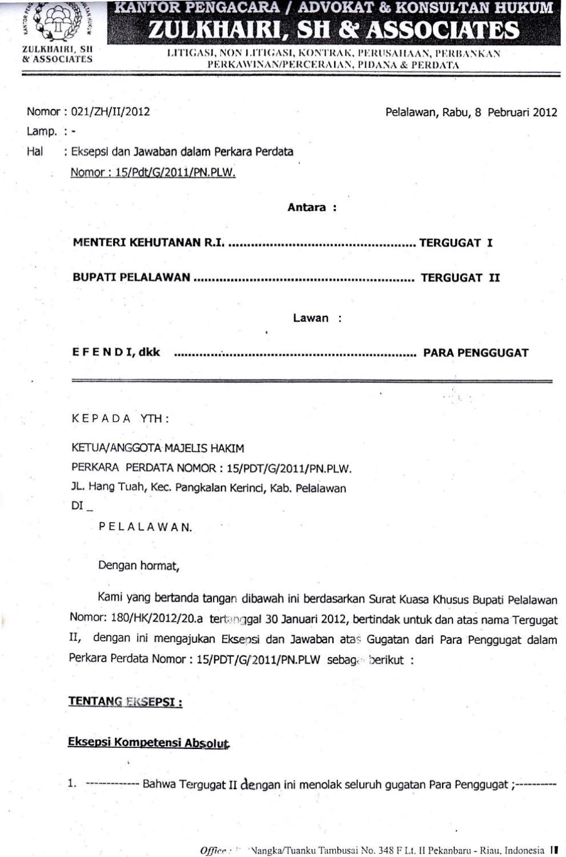 Eksepsi Ph Bupati Pelalawan Terhadap Guagatan Cls Warga