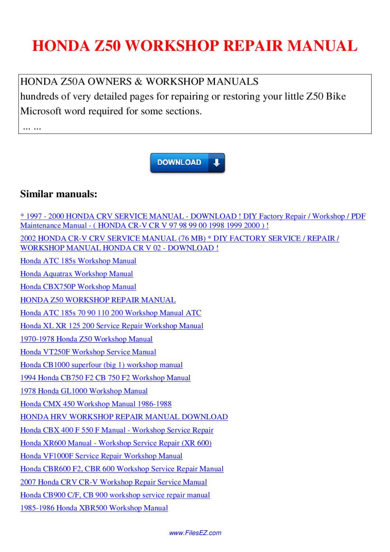 HONDA Z50 WORKSHOP REPAIR MANUAL by Nana Hong - issuu