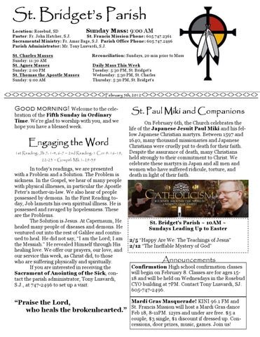 20120205 St  Bridget PDF by St  Francis Mission - issuu
