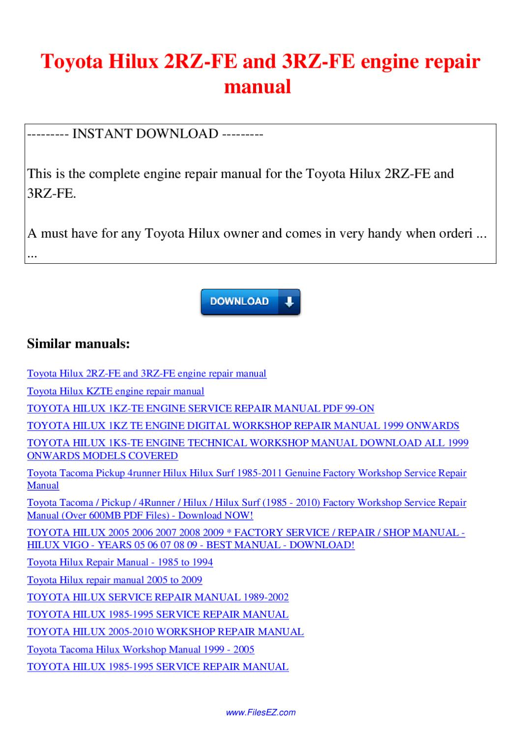 ... service Array - toyota hilux 2rz fe and 3rz fe engine repair manual by  nana hong issuu ...