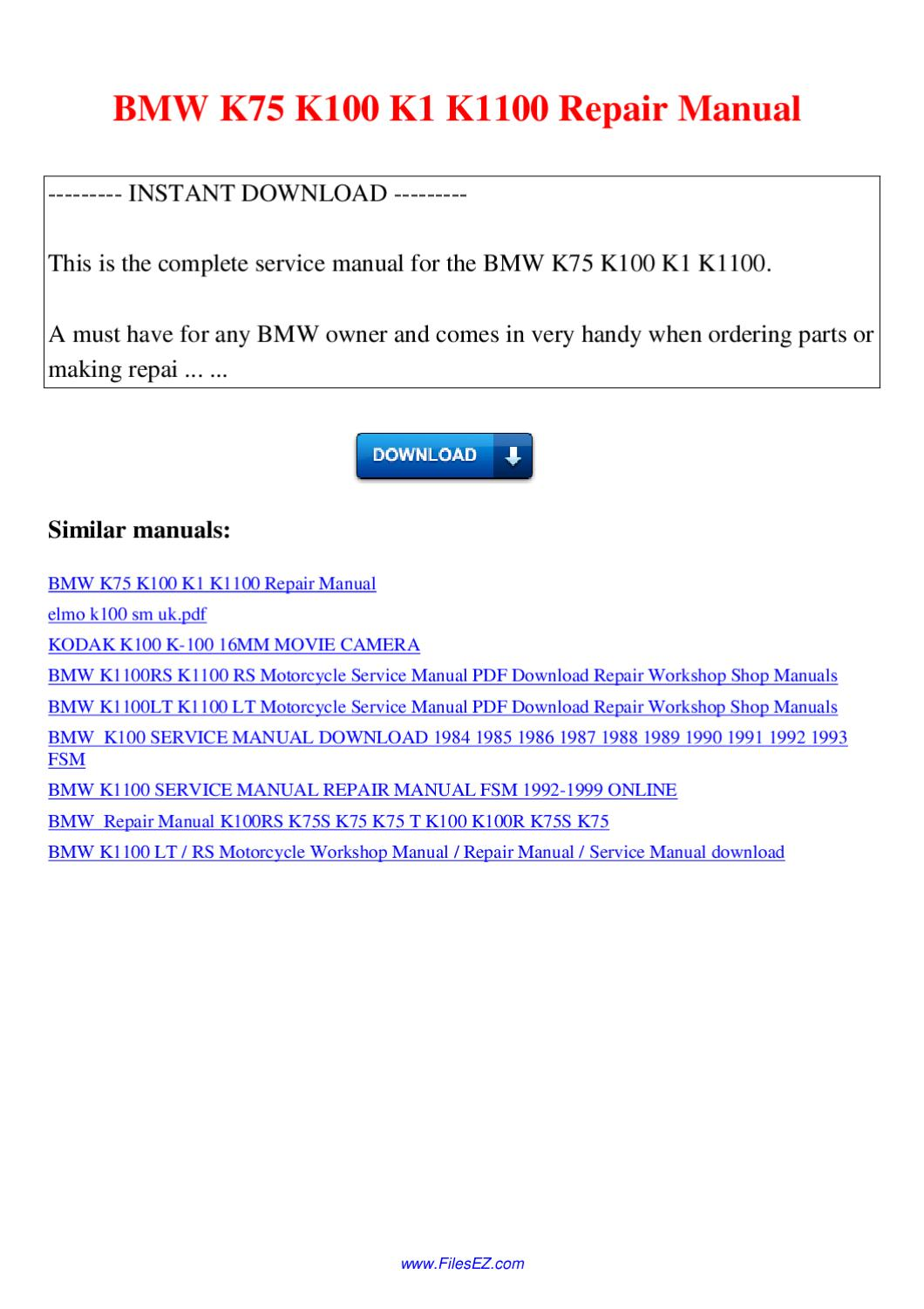 Bmw K100 Lt Service Manual 1985 Wiring Diagram Array K75 K1 K1100 Repair By Nana Hong Issuu Rh
