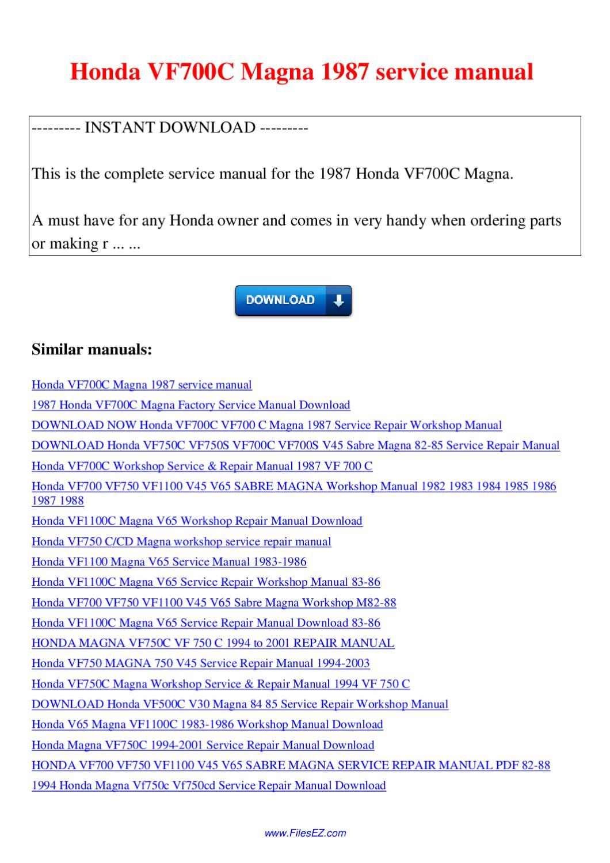 Honda Vf700c Magna 1987 Service Manual By Nana Hong
