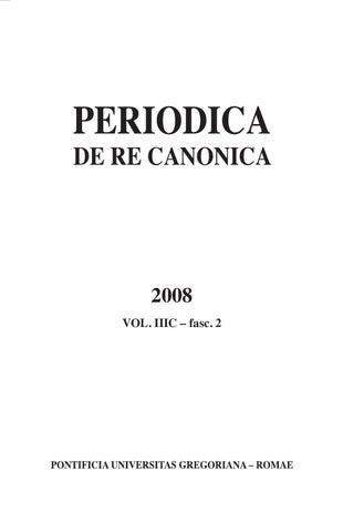 6c732142743 PERIODICA DE RE CANONICA N. 2 - 2008 by GBPress.net ...
