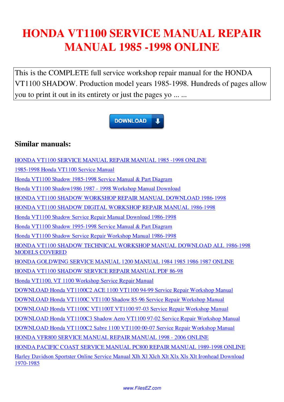 Honda Vt1100 Service Manual Repair Manual 1985 1998 By